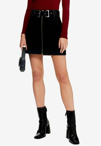 TOPSHOP black Petite Denim Double Buckle Skirt 4111DAA7A4001FGS_1