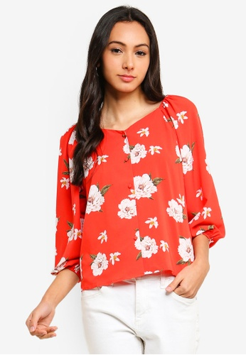 FORCAST red Giovanna Button Up Blouse B3036AAE38D2B4GS_1
