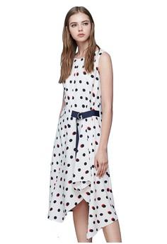【ZALORA】 OUWEY歐薇 撞色圓點拼接雪紡洋裝