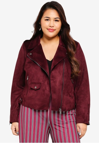 Only CARMAKOMA red Plus Size Sherry Bonded Biker Jacket 0BBE2AA17FA255GS_1