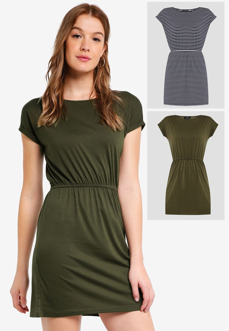 Navy Shirt Gathered 2 White BASICS Dark Green Basic T Stripe Dress pack with Waist ZALORA wBp4q7