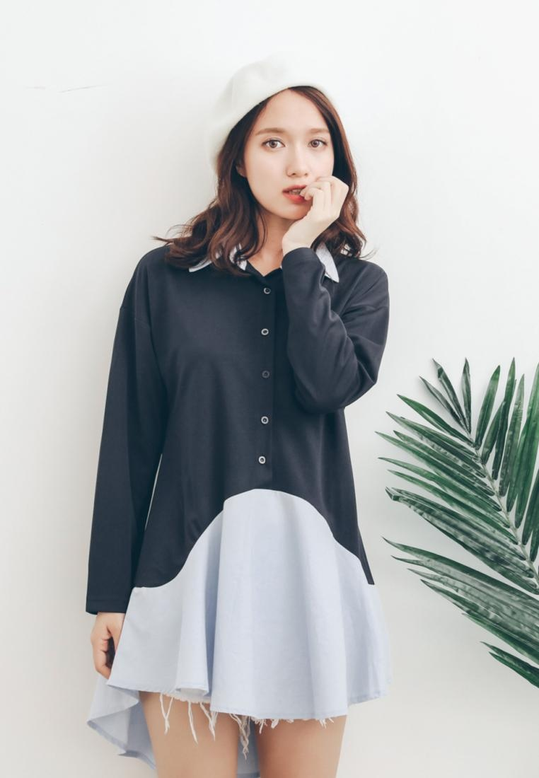 Shopsfashion Dress Navy Blue Flare Shirt BAqwzz