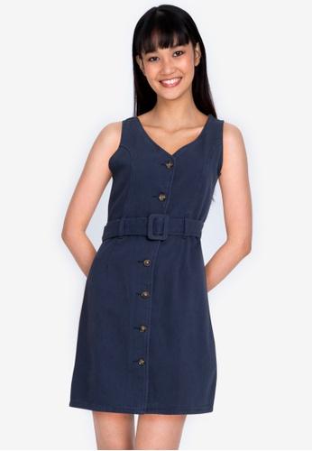 ZALORA BASICS 海軍藍色 Button Down A-Line Dress with Belt 3C1FBAACA4C3D1GS_1