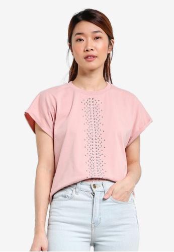Something Borrowed pink Studded Drop Shoulder Tee 8C38BAAA775C6AGS_1