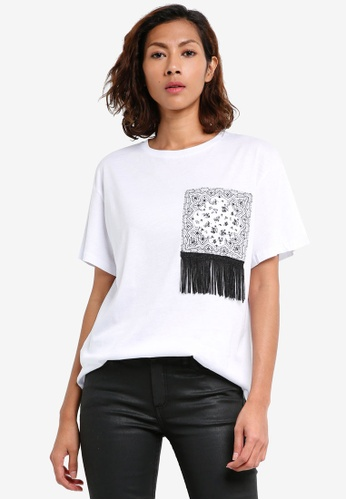 Mango white Fringe Cotton T-Shirt B605FAAADB2211GS_1