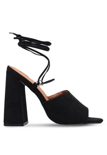 Public Desire black Peru Strappy Lace Up Block Heels C38AESH7662CBCGS_1