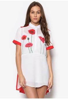 Short Sleeve Carnation Shirt Dress