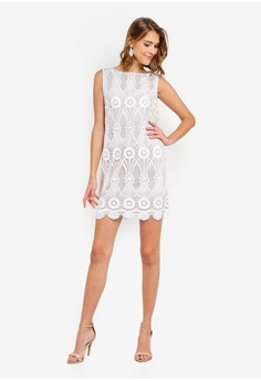 2febb6364fc2 Wallis Petite Ivory Floral Lace Shift Dress S  149.00. Sizes 8 10 12 14 16