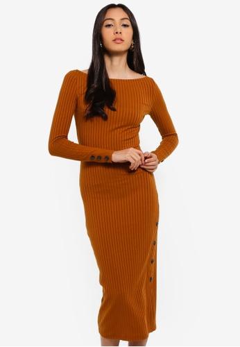 River Island orange Rib Button Side Midi Dress 24684AA6717CD3GS_1