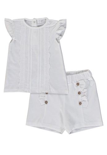 LC Waikiki white Baby Girl Blouse and Shorts Set 71FC6KAA13CAD8GS_1