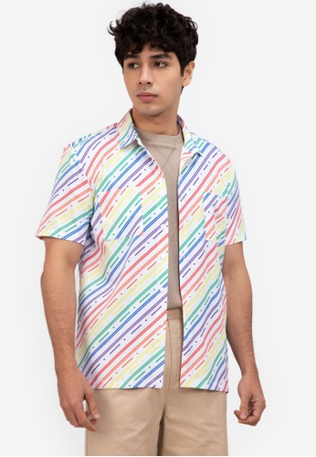ZALORA BASICS multi Diagonal Print Short Sleeve Shirt A7A4AAA092FC7FGS_1