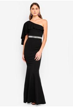 80e863884b Goddiva black Off The Shoulder Flair Maxi Dress A75D4AA5980775GS 1