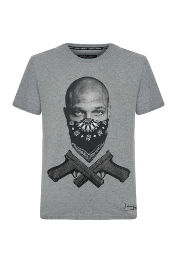 Jeremy Meeks grey Men Swarovski Detailed T-Shirt Grey 4932AAAA2C9039GS_1