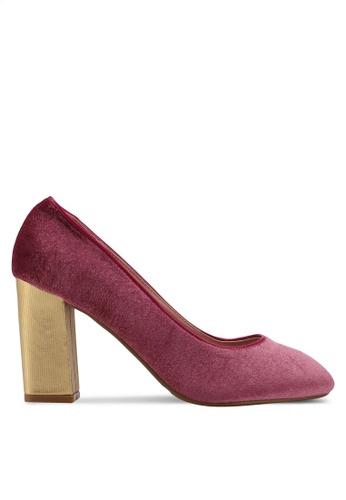 DMK pink Contrasted Block Pump Heels 90F80SHAA64F29GS_1