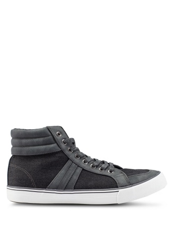 Burton Menswear London grey Grey Hi Top Trainers On A White Sole With Material Inserts B4B38SHED97E8AGS_1