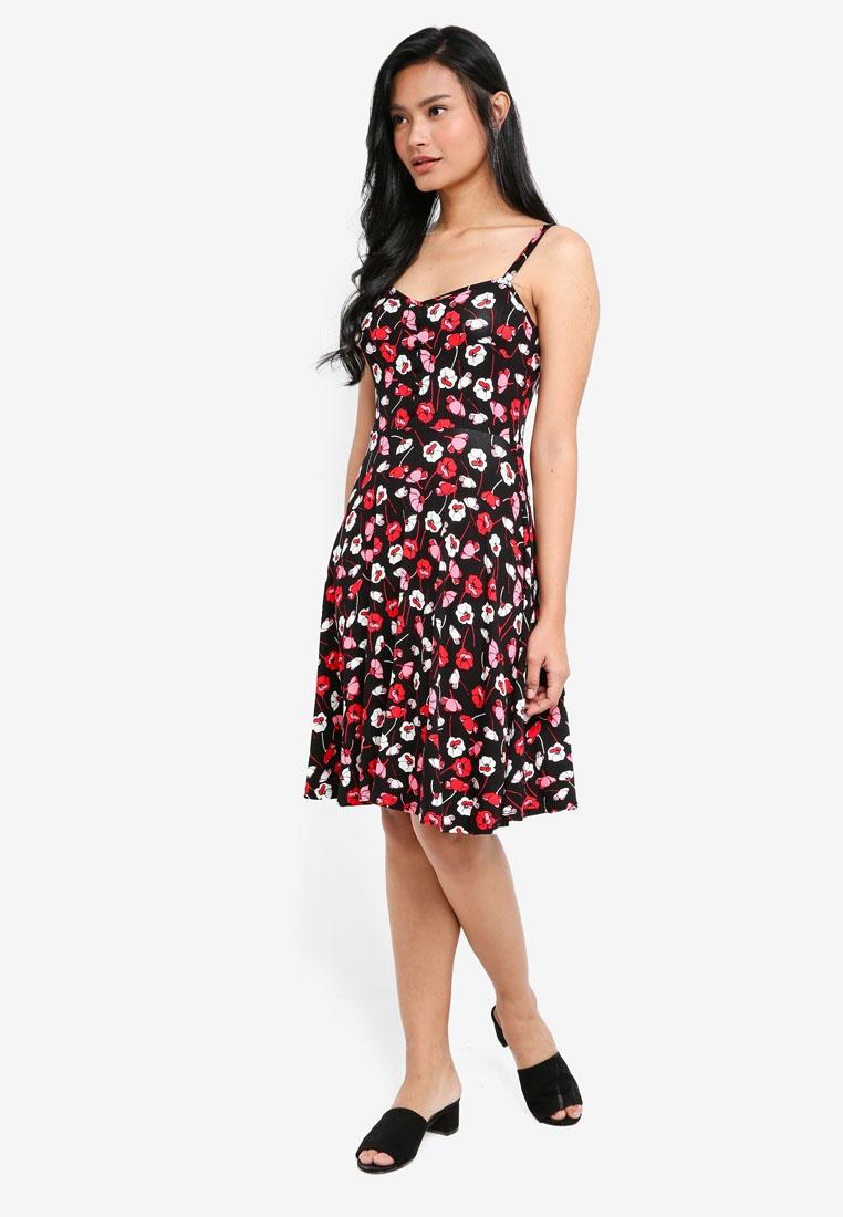 Dorothy Black Perkins Dress Strappy Floral Black 1Hwaqxa8