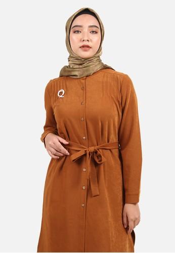 QUEENSLAND brown Pin Tuck Tunik B10223Q Coklat A6AACAA1BD9BB4GS_1
