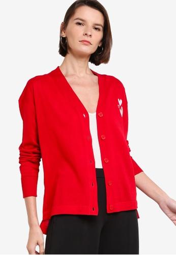 ck Calvin Klein red VALENTINE ORGANIC COTTON CARDIGAN 08AF2AAE04C927GS_1