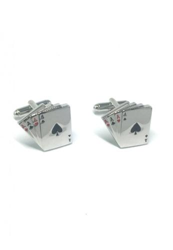 Splice Cufflinks silver Silver 4 Aces Cufflinks  SP744AC64EMLSG_1