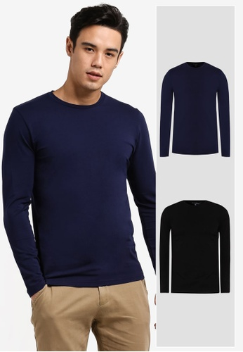 ZALORA black and navy 2 Pack Cotton Crew Neck Long Sleeve Tee ZA819AA35JIAMY_1