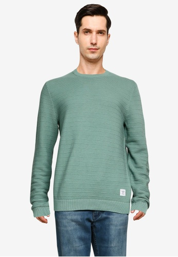 Only & Sons green Nathan Life Structure Crew Neck Pullover 6EAB6AA76638BEGS_1