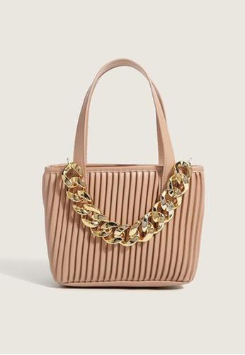 Lara pink Women's Stylish Thick Chain Pleated Handbag Cross-body Bag - Pink 48AAFAC474C2DDGS_1