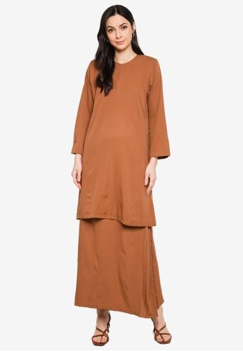 Butik Sireh Pinang brown Baju Kurung Pahang Salimah 59D41AA33648B4GS_1