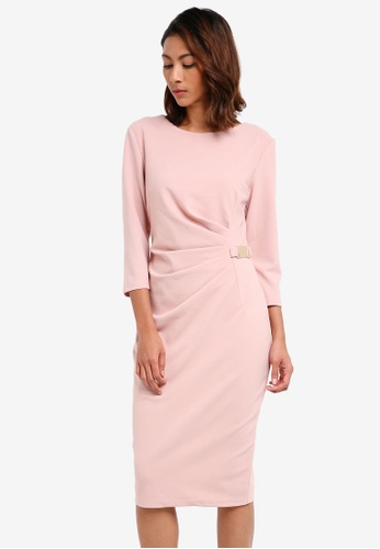 Goddiva pink Long Sleeved Midi Dress With Buckle Detail 265F9AA7238CE1GS_1