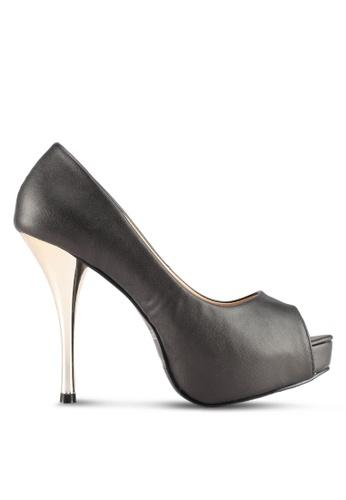 Spiffy grey Elegant Peep Toe High Heels 00541SH84754D8GS_1