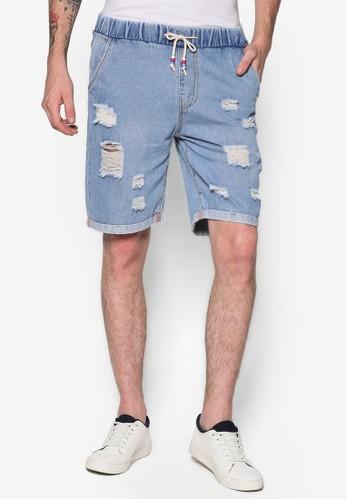 Feliz 反折褲腳刷破丹寧短褲、 服飾、 短褲FleshImpFeliz反折褲腳刷破丹寧短褲最新折價