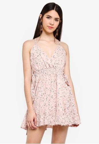 INDIKAH pink Cross Back Skater Dress With Side Ties 864FBAA742C529GS_1