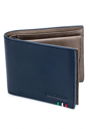 ENZODESIGN navy Italian Leather Wallet With Coin Pocket And Snap Compartment 1FBACAC950865DGS_1