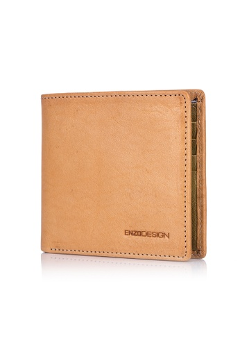 ENZODESIGN brown and multi and gold Italian Leather Streetcasual Bi-fold Wallet (10 card slots) EN357AC0FP6VSG_1