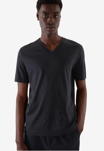 COS blue Slim-Fit V-Neck T-Shirt D0F9BAACEA8AB0GS_1