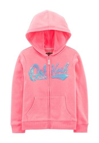 NEW OshKosh Girls Hoodie Navy Blue Flip Sequin Logo Sweatshirt 4 5 7 8 14 year