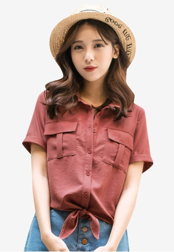 Tokichoi pink Ribbon Knot Buttoned Up Shirt FCEE2AAA25BD8DGS_1