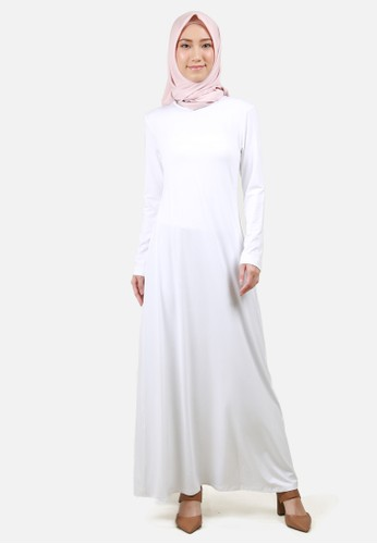 QUEENSLAND white Long Dress Kaos Wanita A04014Q Putih 769D7AAF40E6C0GS_1
