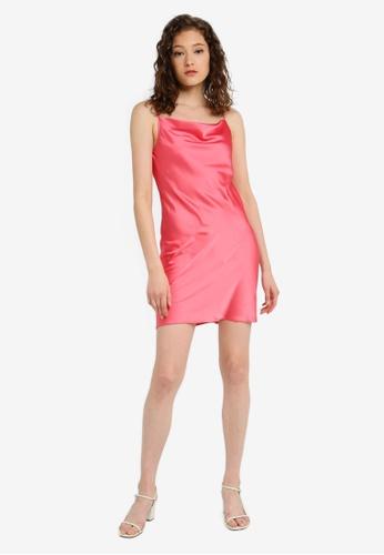 50d7f25a3f587 Buy Miss Selfridge Coral Cowl Neck Mini Slip Dress Online | ZALORA Malaysia