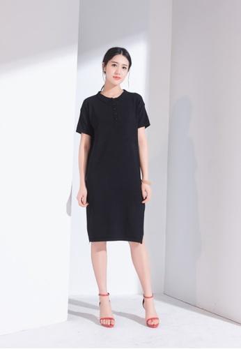 Zafiti black V Neckline Knit Short Sleeves Dress E72E0AA0878592GS_1