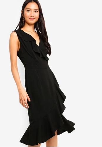ZALORA black Ruffles Midi Dress BE71EAAB769480GS_1