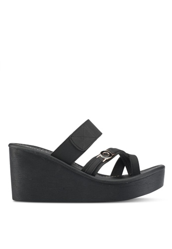 Spiffy black Feather Weight Comfort Series Slip-on Wedges B1A65SH7E0ED8EGS_1