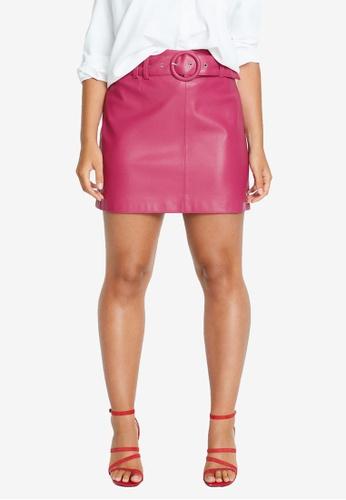 Violeta by MANGO pink Plus Size Belt Mini Skirt 98BADAA28B3F1BGS_1