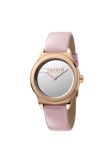 Esprit pink ESPRIT [Magnolia] 34mm Pink Leather Strap Women Watch [ES1L019L0045] 4A314AC65AC943GS_1