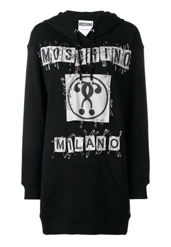 MOSCHINO black Moschino safety pin-embellished logo Hoodie Dress in Black 73B76AA4BF0B0CGS_1