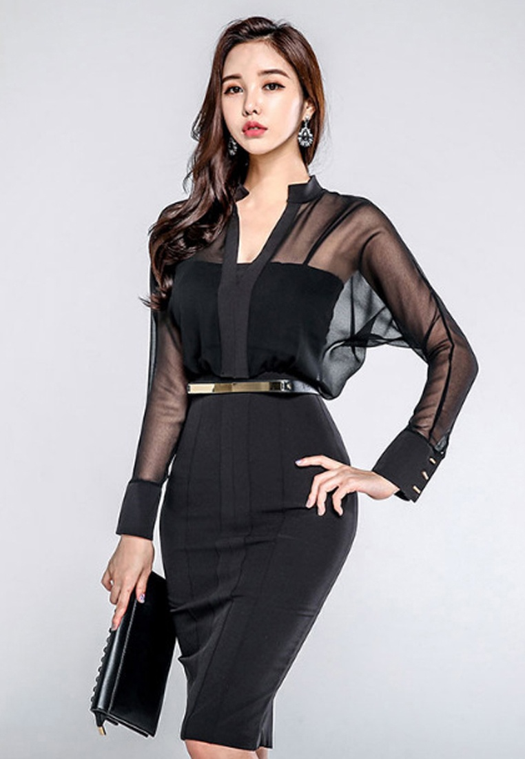 See Black Piece Sunnydaysweety Dress Through CA011708 Black 2018 One New S15Eqwvx4