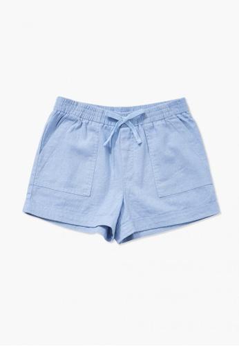 FOREVER 21 blue Linen-blend Shorts 3C097KA243B3E5GS_1