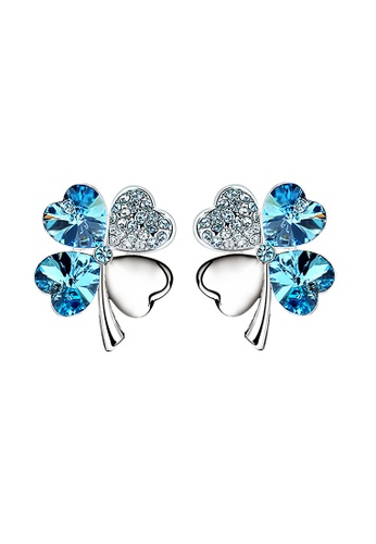 OUXI blue OUXI Four Leaf Clover Earrings (Aquamarine) OU821AC23LTKMY_1