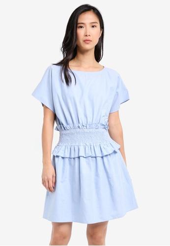 ZALORA blue Oversized Smocked Waist Dress 38D7CAABB796ADGS_1