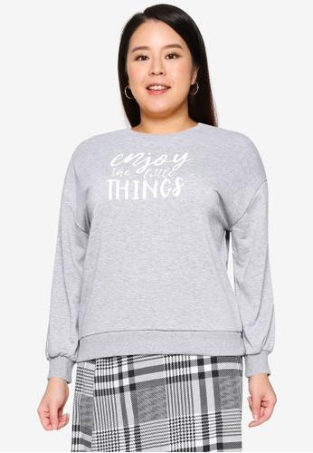 Only CARMAKOMA grey Plus Size Thilde Long Sleeve Sweatshirt 0EFF3AA96ABF52GS_1
