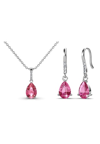 Her Jewellery pink Dew Drop Set (Pink) with Premium Grade Crystals from Austria AB340ACC320FAEGS_1